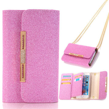 Glitter Pink Luxury Wallet Bag Strap Chain Purse Magnetic Detachable Phone Bag for iPhone 7