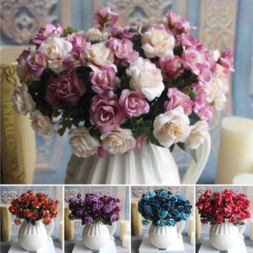 Austin 15 heads Autumn Fake Silk Flowers Artificial Rose Bridal Decor [7981612359]