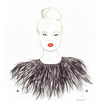 Sophistication with Flair - Print of original watercolor fashion illustration by Lexi Rajkowski, wall art, vanity decor, home decor, art