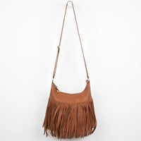 Large Fringe Faux Leather Hobo Bag 223427409 | Handbags