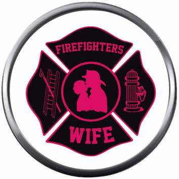 Pink Black Maltese Cross Firefighter Wife Thin Red Line Courage Under Fire 18MM-20MM Snap Charm Jewelry New Item