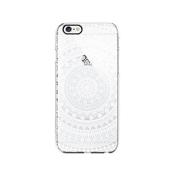 White Mandala Transparent Silicone Plastic Phone Case for iphone 6PLUS _ LOKIshop (iphone 6 plus)