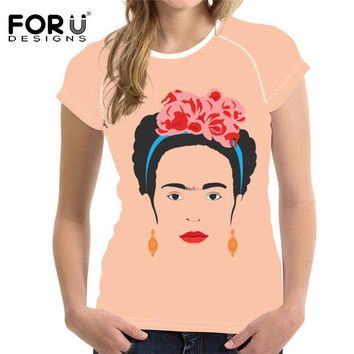 Tops and Tees T-Shirt FORUDESIGNS Black Women T Shirt 2018 Summer Frida Kahlo Printed T-Shirt Casual Ladies Girls  Tee Personalized Short Sleeve AT_60_4 AT_60_4