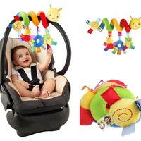 New Cute Infant Plush Toys Baby Crib Revolves Around the Bed Stoller Playing Toy Crib Lathe Hanging Baby Rattle Mobile