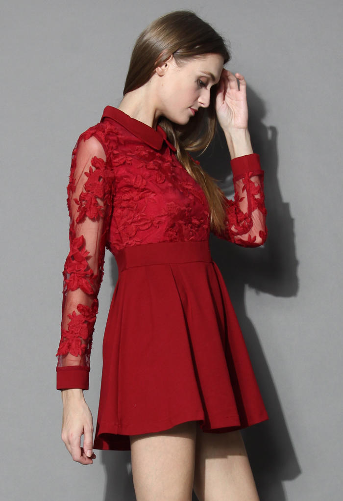 d26dcdf3cbcc Vivid Flower Mesh Lace Skater Dress in from Chicwish