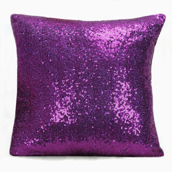 Luxury Glamour. 16inch Purple Sequins Embellished Pillow Cover. Christmas Sparkly Bling Cushion Cover. Purple Wedding Party Decor