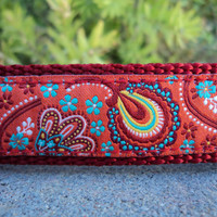 "Peacock Paisley Dog Collar - 1"" Adjustable Side Release Collar"