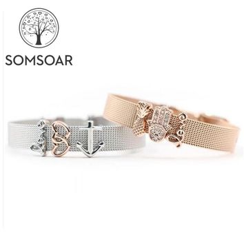 Somsoar Jewelry 2018 Top Selling Lovely Charms Bracelet Set 2pcs bracelet Mixed with DIY Slide Charms as Best Gift
