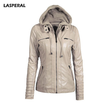 LASPERAL Winnter Solid PU Leather Hooded Jackets Women Long Sleeve With Pocket Tracksuit Feminine Zipper Windbreaker Jacket