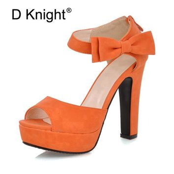 Size 31-43  Women Summer Peep Toe Pumps Ankle Strap Orange Sweet High Heel Sandals Lady Bowtie Platform Shoes Woman Spike Heels