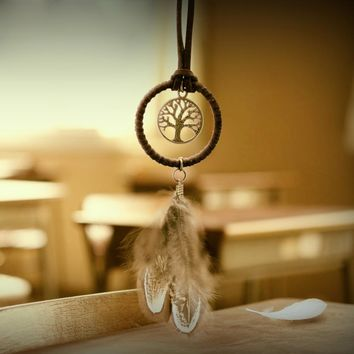3Pcs New Fashion Unique Key Chain Ring Feather Bead Dream Catcher Wind Chimes Vintage Indian Keyring Keychain Gift