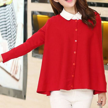 Red Button Down Knitted Long Sleeve Cardigan