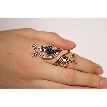 Handmade navy blue crystal stone wire wrap copper ring