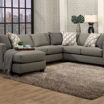 Benchley Orlando 3 pc Orlando slate fabric upholstered sectional sofa with square arms and chaise