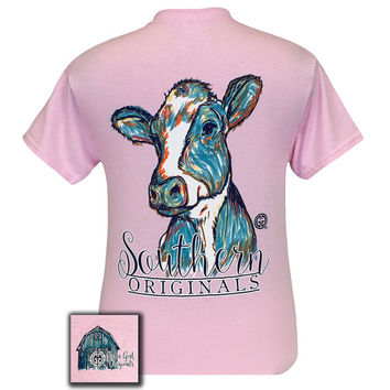 Monogrammed Girlie Girl Original Watercolor Cow Pink T Shirt