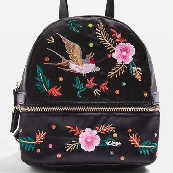 Satin Bird Embroidered Backpack | Topshop