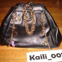 NWT Versace H&M Limited Black Large Chains Charm Bag Hand bag B