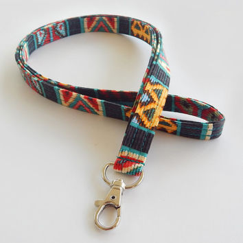 Tribal Lanyard / Boho Keychain / Indian Blanket Inspired / Bohemian / Key Lanyard / Turquoise/ Woven Style / ID Badge Holder