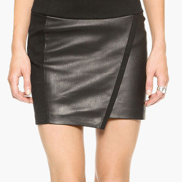 Black Leather Wrap Mini Skirt