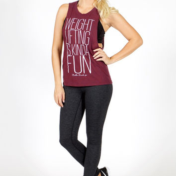 Belle and Bell Weight Lifting Is Kinda Fun Women's Tank Cranberry