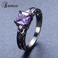 Bamos Fashion Purple Cubic Zirconia Rings for Women Men Vintage Black Gold Filled Birthstone Ring Engagement Band Jewelry RB0049