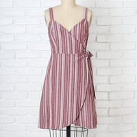 Lucy Striped Linen Wrap Dress-FINAL SALE