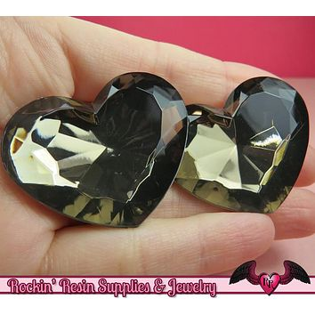 42mm HUGE HEART GEMS Smoky Grey Bronze Acrylic Faceted Rhinestones