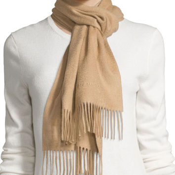 "Cashmere Embroidered-Logo Scarf, Camel, Size: 33"", CAMEL - Burberry"