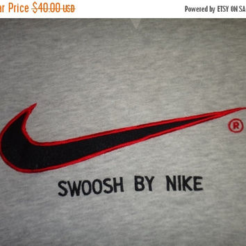 New Year Sale Vintage NIKE SWOOSH Sweatshirt Grey Hip Hop