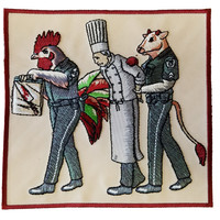 """""""Murder Chef"""" Funny Vegetarian Humor Chicken & Cow Police - Novelty Iron On Patch Applique  HS P - CHL - 0097"""