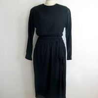 Vintage 1980s Black Cocktail Dress Town n Country Black Chiffon Ruched 80s Evening Dress 10