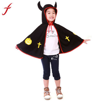 Boys Girls Kids Children Halloween Party Cosplay Costumes Cloak Masquerade Props Small Devil Horns Gowns INY66