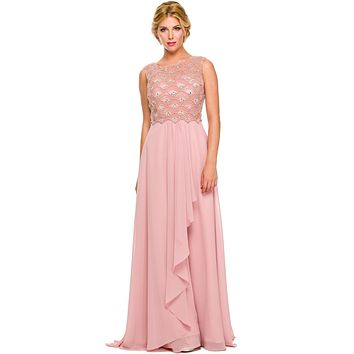 Floor Length Dusty Rose Chiffon Formal Gown Cap Sleeve Bateau Neck