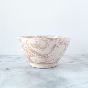 Beige Ebru Light Marble Ceramic Bowl