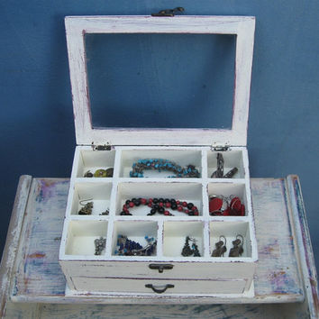 Cream & Brown Shabby Chic Wooden Jewelry Box, Jewelry Cabinet