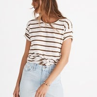 Whisper Cotton Knot-Front Tee in Myers Stripe