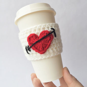 Coffee Cozy / Coffee Sleeve /  Crochet Coffee Sleeve / Cozy / Cup Cozy / Coffee Cup Cozy / Crochet Coffee Cup Cozy / Valentine's Day / Mug