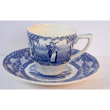 Crown Ducal Colonial Times Blue Transferware Demi Demitasse Cup & Saucer Pilgrims Thanksgiving Mayflower Ship Plymouth Rock