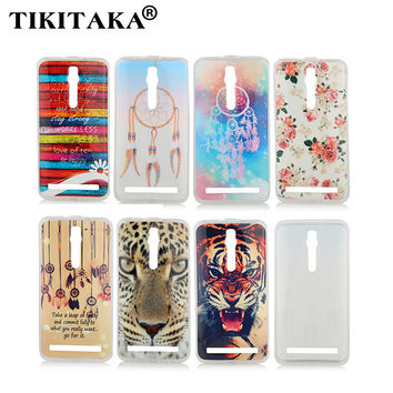 Soft TPU Silicone Rubber Protective Skin Back Cover For Asus Zenfone 2 5 Fashion Cartoon Flower Windbell Tiger Pattern Cases