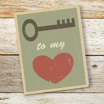 Love greeting card, Blank note card, Key to my heart, 4x5 or 4x6 inches folded