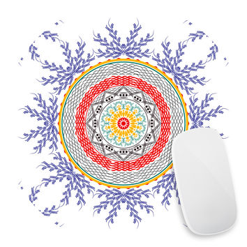 Red Indigo Floral Mouse Pad Decal