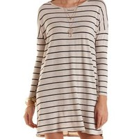 Oatmeal Heather Long Sleeve Striped T-Shirt Dress by Charlotte Russe