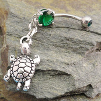 Turtle Belly Button Ring Emerald Green Navel by MidnightsMojo