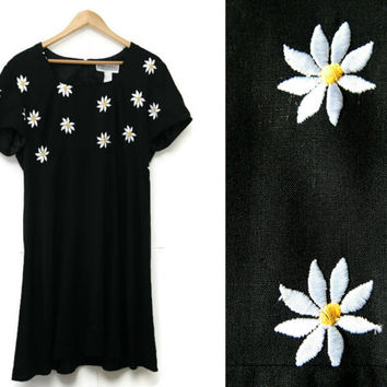 Vintage Floral Babydoll Dress~Size Large~60s 70s 90s Embroidered Daisy Black White Yellow Dress~By Jessica Howard