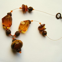 Vintage Necklace, Ethnic Necklace, Statement Necklace, Orange Glass Necklace, Crystal and Copper. Summer Necklace. Amber Necklace. Unique.