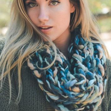 Ultra-Soft Blue Multi-Colored Snood Infinity Scarf