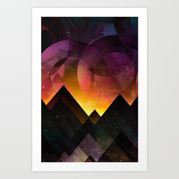 Whimsical mountain nights Art Print by HappyMelvin