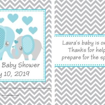 8 Blue Elephant Baby Shower Nail File Favors