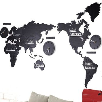 World Map Living Room Wall Decoration Wooden Mute Wall Clock Office Innotime Large World Map Wall Clock about137cm DIY Acrylic M