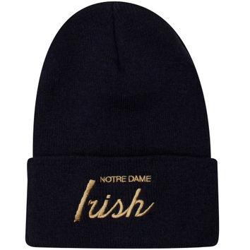 Mitchell & Ness Notre Dame Fighting Irish Special Script Cuffed Beanie - Navy Blue - http://www.shareasale.com/m-pr.cfm?merchantID=7124&userID=1042934&productID=522514107 / Notre Dame Fighting Irish